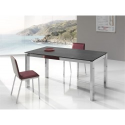 Table fixe extensible c ramique epoxy chrom bois promo for Table 70x70 extensible