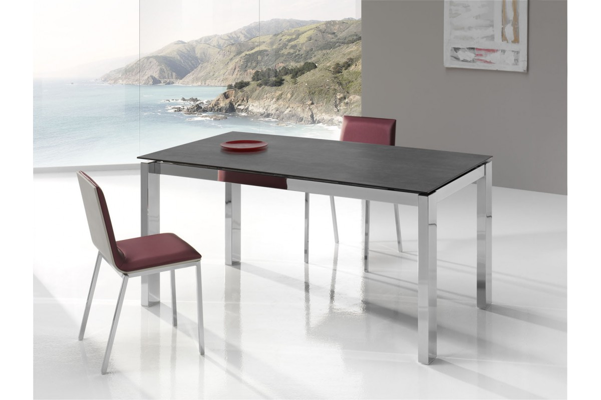 Table fixe extensible c ramique epoxy chrom bois promo for Table de cuisine kreabel