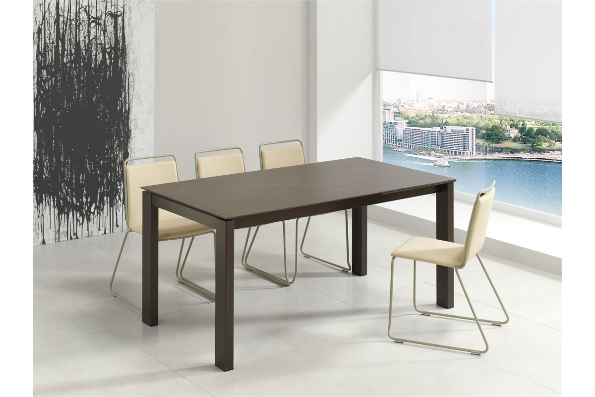 Table fixe extensible c ramique epoxy chrom bois promo for Table sejour extensible
