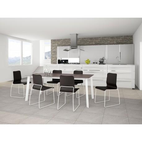REF. KU-12 table fixe ou extensible Céramique ou Verre ou Bois pieds en  Acier chromé ou peint