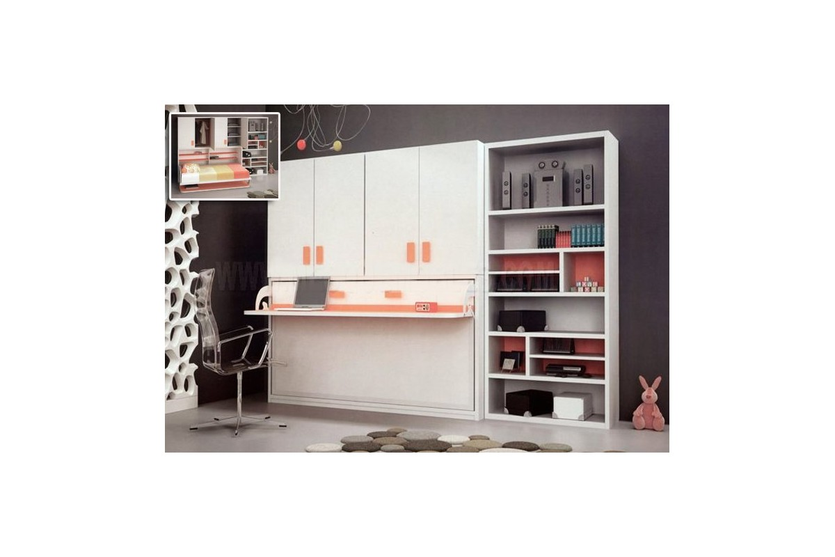 armoire lit escamotable horizontal rabatable bureau rangement placard armoire etag re. Black Bedroom Furniture Sets. Home Design Ideas