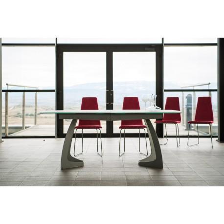 Table fixe extensible c ramique epoxy chrom bois kire for Table design plateau ceramique