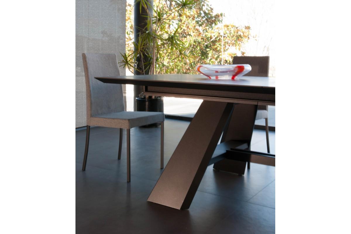 Table fixe extensible c ramique epoxy chrom bois hobbus - Table plateau ceramique extensible ...
