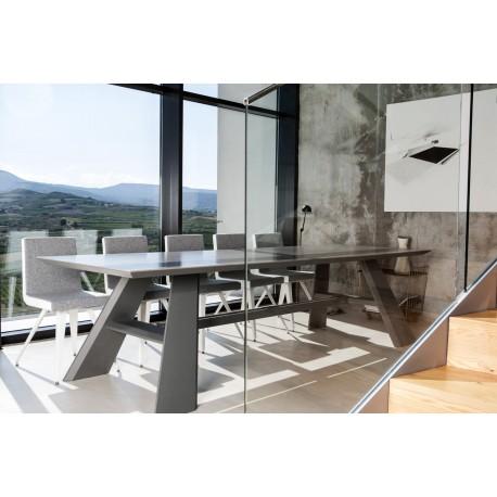 Table fixe extensible c ramique epoxy chrom bois hobbus for Table design plateau ceramique