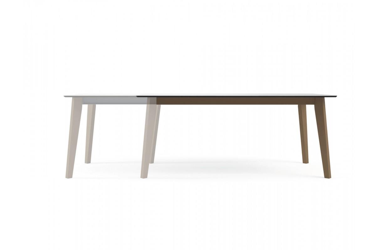 Table ovale fixe extensible c ramique epoxy chrom bois for Table ceramique bois