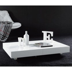 TABLE BASSE BLOCK TRANSFORMABLE EN TABLE A MANGER finition Laqué BLANC BRILLANT