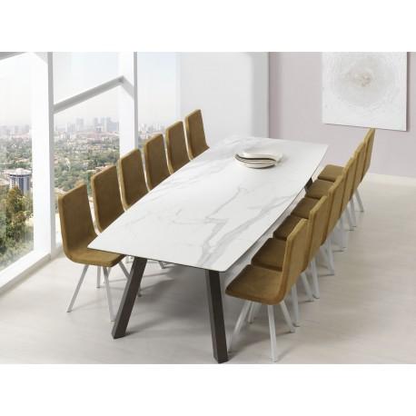 REF. KU-10 table ovale en Céramique pieds Acier peints  - chaises AQUA B