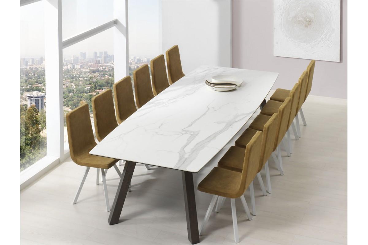 table fixe extensible c ramique epoxy chrom bois promo discount artur cancio discalsa kuydisen. Black Bedroom Furniture Sets. Home Design Ideas