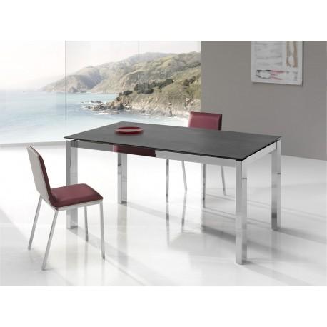 REF. KU-02 table fixe ou extensible en Céramique - pieds Acier chromé ou peint - hauteur 75 ou 90 cm