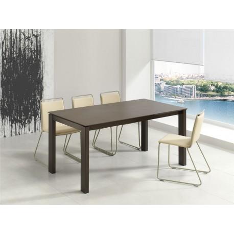 REF. KU-11 table extensible plateau+allonge Céramique -pieds en Acier chromé ou peint- hauteur 75 cm