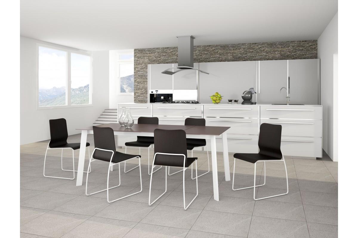 table fixe extensible plateau c ramique structure pieds. Black Bedroom Furniture Sets. Home Design Ideas