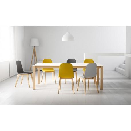 table CÉRAMIQUE fixe ou extensible CA/02 version pieds bois teinté