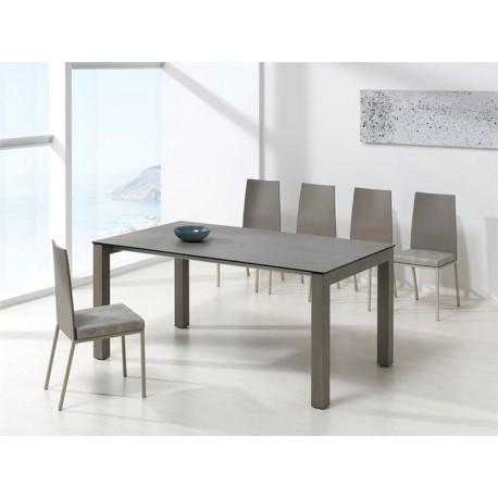 REF. KU-01 table fixe ou extensible en Céramique - pieds Acier ou Bois hauteur 77 ou 90 cm