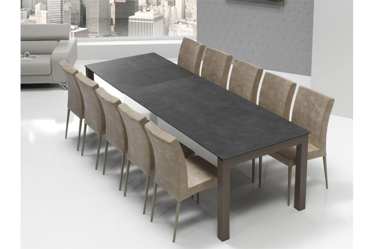 table fixe extensible c ramique epoxy chrom bois promo chamon enix elba cancio discalsa. Black Bedroom Furniture Sets. Home Design Ideas