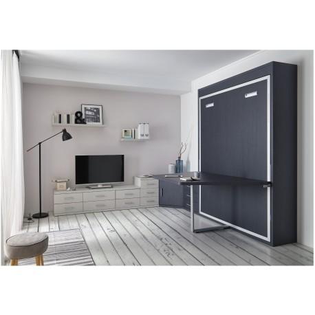 Lit escamotable vertical TABLE personnalisable - se décline en 2 versions avec ou sans étagère intérieure
