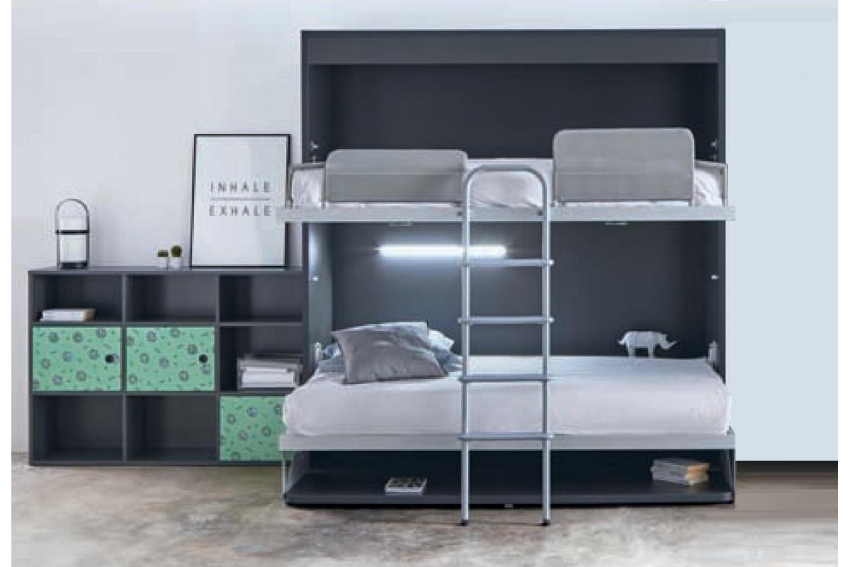 armoire lit superpos escamotable horizontale rabatable avec bureau personnalisable sur mesure. Black Bedroom Furniture Sets. Home Design Ideas