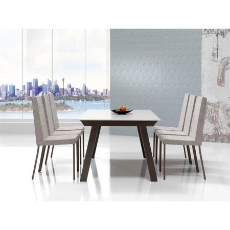 Table fixe ou extensible KU/05 avec plateau en céramique DEKTON et allonges en bois laqué vendue entre Cassis et Hyères