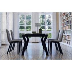 Table fixe ou extensible KU/06 pour intérieur et extérieur avec plateau en Céramique sur verre ou en Dekton
