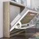 Armoire lit Horizontal CAVALAIRE avec Bureau. Double fonction gain de place avec un espace bureau transformable en lit