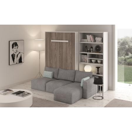 Armoire Lit Vertical PARIS avec Canapé d'angle confortable - Meuble gain de place Personnalisable