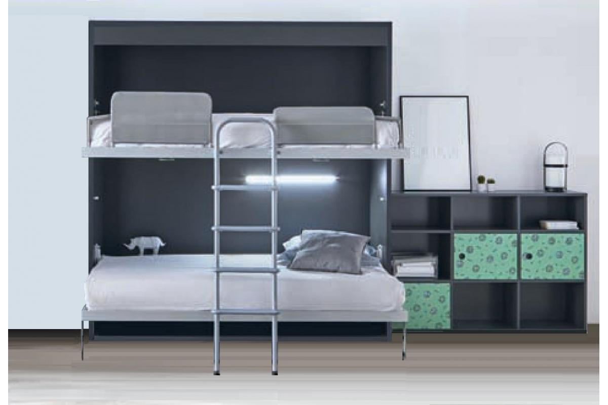 Placard Avec Lit Integre armoire-lit-superposé-escamotable-horizontale-rabatable-avec