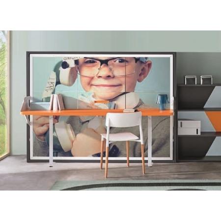 Armoire lit transversal avec Bureau BANDOL pour petit appartement ou chambre d'étudiant livrable sur Paris